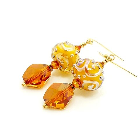 Butterscotch,Scroll,Lampwork,Earrings,Handmade Jewelry, Glass Earrings, Glass Jewelry, Glass Bead Earrings, Glass Beads Earrings, Lampwork Earrings, Gold Earrings, Gold Filled Earrings, Beadz and More, SRAJD, Drop Earrings