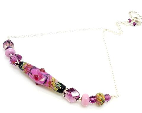 Pink,and,Purple,Lampwork,Necklace,Handmade Jewelry, Lampwork Necklace, Glass Jewelry, Glass Bead Jewelry, Beaded Necklace, Pink and Purple Jewelry, Beadz and More, SRAJD, Bead Jewelry, Silver Jewelry, Sterling Jewelry