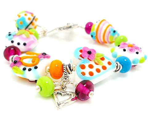 Whimsical,Floral,Heart,Lampwork,Bracelet,Handmade Jewelry, Glass Jewelry, Sterling Silver Bracelet, Beadz and More, Glass Bracelet, Beaded Bracelet, Lampwork Bracelet, Glass Beads Bracelet, SRAJD, Glass Bead Jewelry, Fun Jewelry, Heart Jewelry