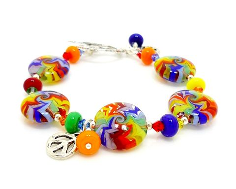 Groovy,Rainbow,Lampwork,Bracelet,Handmade Jewelry, Glass Jewelry, Retro Jewerly, Funky Jewerly, Silver Bracelet, Beadz and More, Glass Bracelet, Beaded Bracelet, Lampwork Bracelet, Glass Beads Bracelet, Rainbow Jewerly, SRAJD, Glass Bead Jewelry
