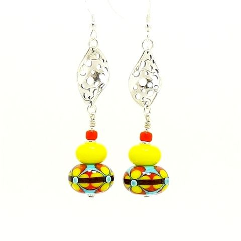 Southwestern,Lampwork,Earrings,Handmade Jewelry, Handmade Earrings, Lampwork Earrings, Colorful Earrings, Southwestern Earrings, Southwestern Jewelry, Glass Jewelry, Glass Earrings, Beaded Earrings, Beadz and More, Silver Earrings, Sterling Earrings, Dangle Earrings