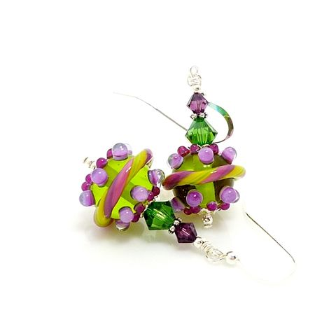 Green,and,Purple,Lampwork,Glass,Earrings,Handmade Earrings, Handmade Jewelry, Handcrafted Earrings, Sterling Silver Earrings, Beadz and More, Beadwork Earrings, Glass Earrings, Glass Bead Earrings, Lampwork Earrings, Green Earrings, Green and Purple Earrings