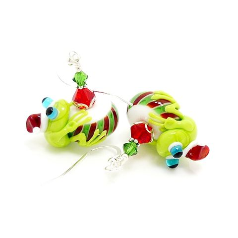 Red,&,Green,Peppermint,Christmas,Frog,Earrings,Handmade Jewelry, Lampwork Earrings, Frog Earrings, Sterling Earrings, Colorful Earrings, Glass Bead Earrings, Glass Jewelry, Silver Earrings, Floral Earrings, Beadz and More, Flower Errings, Frog Jewelry, Christmas Earrings, Christmas Jewelry
