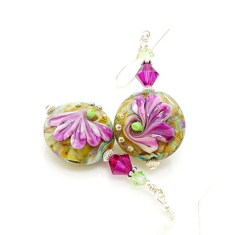 Fuchsia,Pink,Lampwork,Glass,Floral,Earrings,Handmade Earrings, Handmade Jewelry, Handcrafted Earrings, Lampwork Earrings, Lampwork Jewelry, Glass Earrings, Pink Floral Earrings, Pink Glass Earrings, Pink Earrings, Beadzandmore, Glass Flower Earring, Glass Bead Earrings, Beadwork Earrings