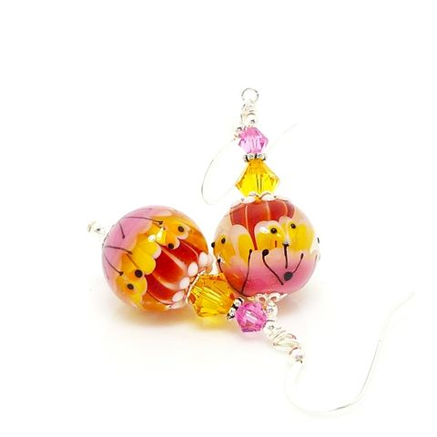 Pink,and,Yellow,Glass,Art,Lampwork,Earrings,Handmade Jewelry, Lampwork Jewelry, Sterling Earrings, Silver Earrings, Beadz and More, Beadwork Earrings, Glass Earrings, Glass Bead Earrings, Lampwork Earrings, Pink and Yellow Earrings, Colorful Earrings, Modern, Unique, Abstract