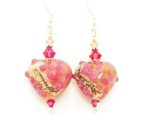 Pink,Puffed,Heart,Lampwork,Earrings,Handmade Earrings, Handmade Jewelry, Handcrafted Jewelry, Lampwork Jewelry, Beaded Earrings, Heart Earrings, Beadwork Earrings, Glass Earrings, Glass Bead Earrings, Lampwork Earrings, Pink Heart Earrings, Valentine Jewelry, Valentine Earrings