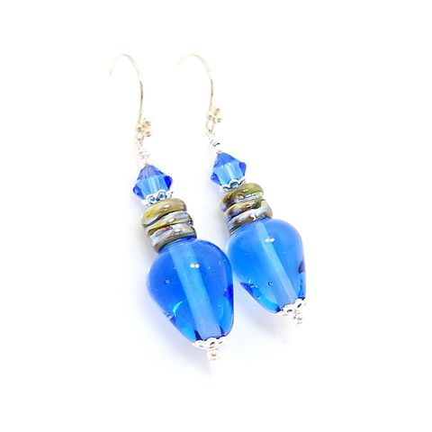 Blue,Christmas,Light,Bulb,Earrings,Handmade Jewelry, Lampwork Earrings, Beadwork Earrings, Glass Earrings, Glass Bead Earrings, Light Bulb Earrings, Christmas Earrings, Christmas Jewelry, Red Earrings,