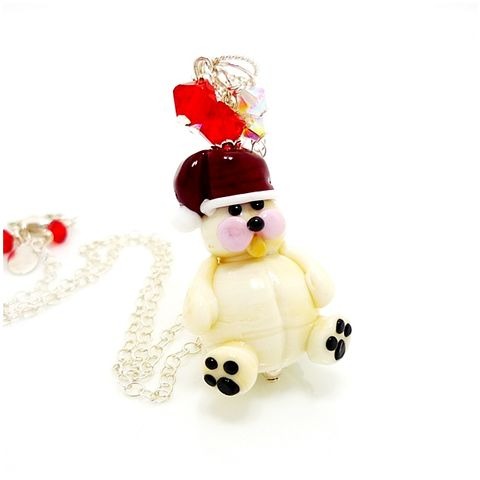 Christmas,Bear,Lampwork,Pendant,Necklace,Handmade Jewelry, Christmas Jewelry, Teddy Bear Pendant, Lampwork Jewelry, Glass Beads Jewelry, Beadz and More, Holiday Jewelry