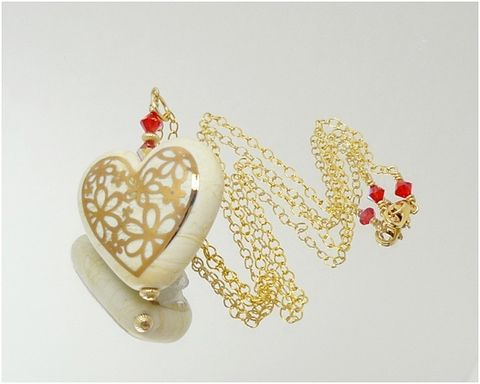 Ivory,Lampwork,Gold,Heart,Necklace,Heart Necklace, Heart Jewelry, Lampwork Jewelry, 14K Gold Filled, Gold Necklace, Beadz and More, Gold Heart Necklace, Statement Necklace, Statement Jewelry, Valentine Gifts, Mothers Day Jewelry, Heart Pendant Necklace