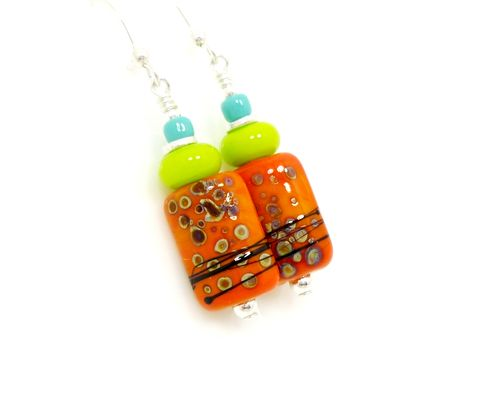 Bright,Orange,and,Lime,Green,Lampwork,Glass,Earrings,Handmade Earrings, Handmade Jewelry, Handcrafted Earrings, Lampwork Earrings, Lampwork Jewelry, Colorful Earrings, Beadzandmore, Beaded Earrings, Glass Earrings, Glass Bead Earrings, Beadwork Earrings, Orange Earrings, Southwestern Earrings