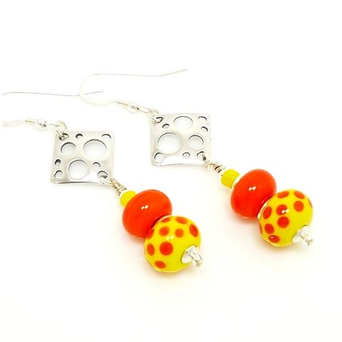 Orange,and,Yellow,Polka,Dot,Earrings,Handmade Earrings, Sterling Earrings, Lampwork Earrings, Colorful Earrings, Glass Earrings, Beadz and More, Orange and Yellow Earrings, Polka Dot Earrings, Dangle Earrings, Glass Bead Earrings, Beaded Earrings, Drop Earrings