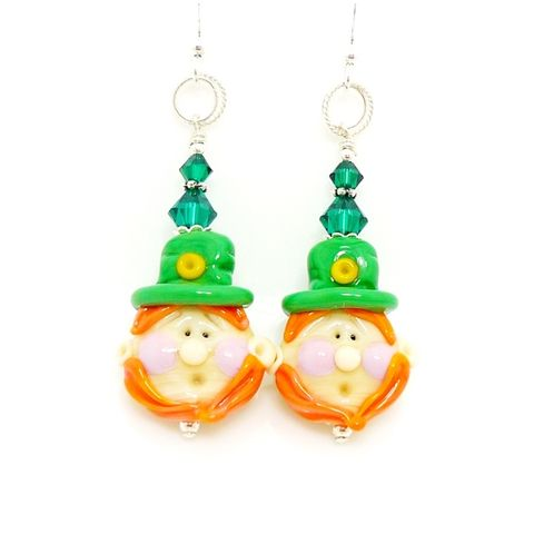 St,Patrick's,Day,Leprechaun,Earrings,Handmade Jewelry, Leprechaun Earrings, Leprechaun Jewelry, St Patricks Day Jewery, Lampwork Earrings, Glass Earrings, Green Earrings, Green and Orange, Beadz and More, Glass Beads Jewelry, Artisan Earrings, Fun Earrings, Dangle Earrings, Luck of the Irish