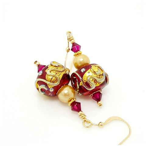 Cranberry,Red,and,Gold,Pearl,Nugget,Earrings,Handmade Jewelry, Handmade Earrings, Lampwork Earrings, Lampwork Jewelry, Glass Beads Jewelry, Glass Earrings, Gold Filled Earrings, Red, Cranberry, Gold, Pearls, Beadz and More