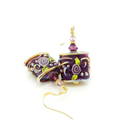 Purple,Floral,Scroll,Lampwork,Earrings,Handmade Earrings, Handmade Jewelry, Lampwork Earrings, Glass Earrings, Glass Beads Jewelry, Lampwork Jewelry, Glass Bead Earrings, Purple Earrings, Beadzandmore, Beadwork Earrings,  Purple, Gold, Scroll Earrings