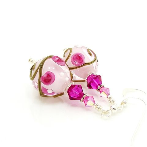 Pink,Floral,Scroll,Lampwork,Glass,Earrings,Handmade Earrings, Handmade Jewelry, Handcrafted Earrings, Sterling Silver Earrings, Beadz and More, Beadwork Earrings, Glass Earrings, Glass Bead Earrings, Pink Earrings, Pink and White Earrings, Floral Earrings