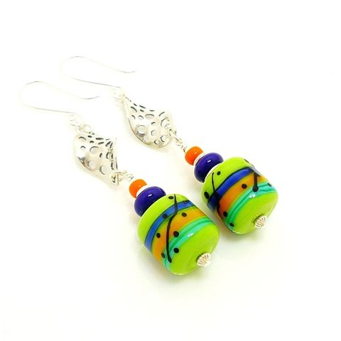 Lime,Green,Blue,and,Orange,Lampwork,Southwestern,Earrings,Handmade Earrings, Sterling Earrings, Lampwork Jewelry, Beadz and More, Beadwork Earrings, Glass Earrings, Glass Bead Earrings, Lampwork Earrings, Colorful Earrings, Southwestern Earrings, Southwest Jewelry, Drop Earrings, Dangle Earrings
