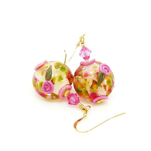 Pink,Floral,Gold,Filled,Earrings,Handmade, Handcrafted, Lampwork, Glass, Earrings, Jewelry, Floral, Lampwork Earrings, Lampwork Glass Earrings, Handmade Lampwork Jewelry, Beadz and More, Handcrafted Bead Jewelry, Handmade Lampwork Earrings, Floral Earrings