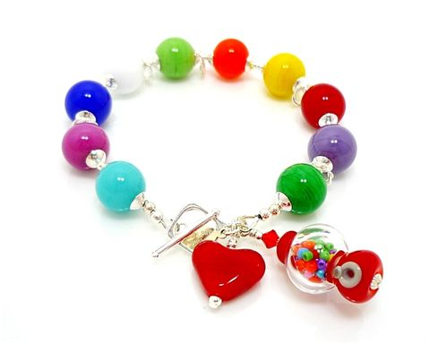Bubble,Gum,Bracelet,Handmade, Handcrafted, Lampwork, Glass, Bracelet, Bubble Gum, Gumball, Jewelry, Lampwork Bracelet, Lampwork Glass Bracelet, Handmade Lampwork Jewelry, Beadz and More, Handcrafted Bead Jewelry, Handmade Lampwork Bracelet, Beaded Bracelet, Gumball Bracelet