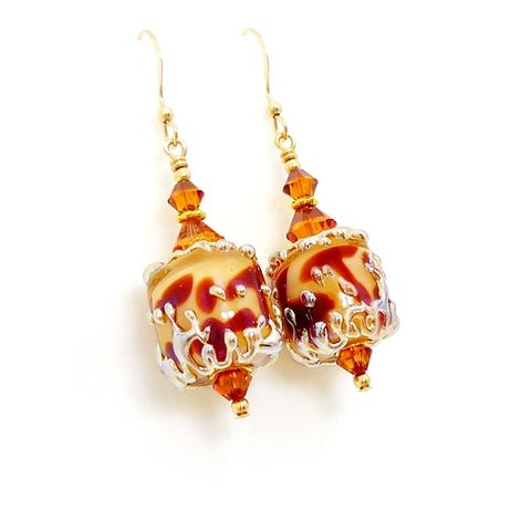 Giraffe,Print,Barrel,Earrings,Handmade, Handcrafted, Lampwork, Glass, Earrings, Jewelry, Floral, Animal Print, Lampwork Earrings, Lampwork Glass Earrings, Handmade Lampwork Jewelry, Beadz and More, Handcrafted Bead Jewelry, Handmade Lampwork Earrings, Animal Print Earrings
