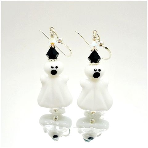 Halloween,Ghost,Earrings,Handmade, Handcrafted, Lampwork, Glass, Earrings, Jewelry, Halloween, Ghost, Halloween Earrings, Lampwork Earrings, Lampwork Glass Earrings, Handmade Lampwork Jewelry, Beadz and More, Handcrafted Bead Jewelry, Glass Beads Jewelry