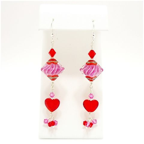 Pink,and,Red,Heart,Earrings,Handmade, Handcrafted, Lampwork, Glass, Earrings, Jewelry, Pink, Pink and Red, Heart, Valentine, Lampwork Earrings, Lampwork Glass Earrings, Handmade Lampwork Jewelry, Beadz and More, Handcrafted Bead Jewelry, Handmade Lampwork Earrings, Glass Beads Earri