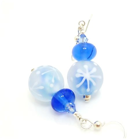 Blue,and,White,Snowflake,Earrings,Handmade, Handcrafted, Lampwork, Glass, Earrings, Jewelry, Christmas, Snowflake, Blue, Christmas Earrings, Lampwork Earrings, Lampwork Glass Earrings, Handmade Lampwork Jewelry, Beadz and More, Handcrafted Bead Jewelry, Glass Beads Jewelry