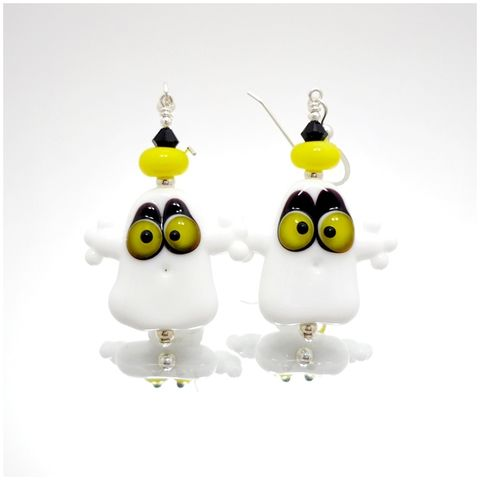 Yellow,Eyed,Halloween,Ghost,Earrings,Handmade, Handcrafted, Lampwork, Glass, Earrings, Jewelry, Halloween, Ghost, Halloween Earrings, Lampwork Earrings, Lampwork Glass Earrings, Handmade Lampwork Jewelry, Beadz and More, Handcrafted Bead Jewelry, Glass Beads Jewelry