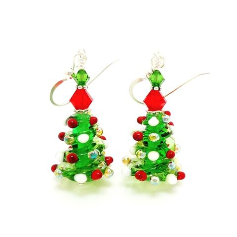Christmas,Tree,Earrings,Handmade, Handcrafted, Lampwork, Glass, Earrings, Jewelry, Christmas, Tree, Christmas Earrings, Lampwork Earrings, Lampwork Glass Earrings, Handmade Lampwork Jewelry, Beadz and More, Handcrafted Bead Jewelry, Glass Beads Jewelry, Holiday Earrings