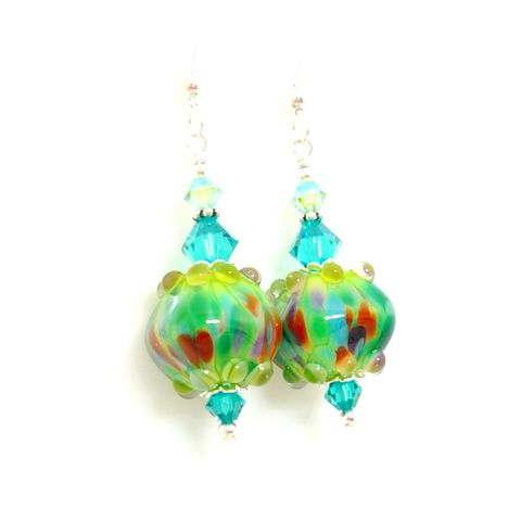 Multicolored,Cube,Earrings,Handmade, Handcrafted, Lampwork, Glass, Earrings, Jewelry, Colorful, Lampwork Earrings, Lampwork Glass Earrings, Handmade Lampwork Jewelry, Beadz and More, Handcrafted Bead Jewelry, Handmade Lampwork Earrings, Glass Beads Earrings