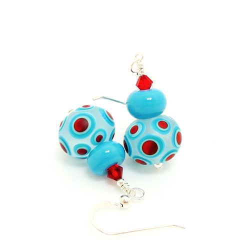 Blue,and,Red,Polka,Dot,Earrings,Handmade, Handcrafted, Lampwork, Glass, Earrings, Jewelry, Colorful, Lampwork Earrings, Lampwork Glass Earrings, Handmade Lampwork Jewelry, Beadz and More, Handcrafted Bead Jewelry, Handmade Lampwork Earrings, Glass Beads Earrings
