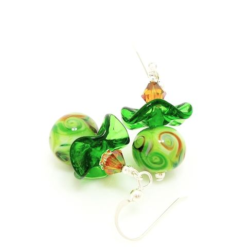 Green,Ruffle,Earrings,Handmade, Handcrafted, Lampwork, Glass, Earrings, Jewelry, Colorful, Lampwork Earrings, Lampwork Glass Earrings, Handmade Lampwork Jewelry, Beadz and More, Handcrafted Bead Jewelry, Handmade Lampwork Earrings, Glass Beads Earrings