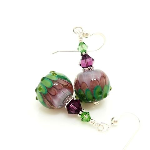 Lavendar,and,Green,Lotus,Flower,Earrings,Handmade Earrings, Handmade Lampwork Jewelry, Lampwork Earrings, Lampwork Glass Earrings, Glass Beads Jewelry, Lampwork Jewelry, Beadz and More, Silver Earrings, Dangle Earrings, Purple, Blue, Pastel Colors, Jewellery