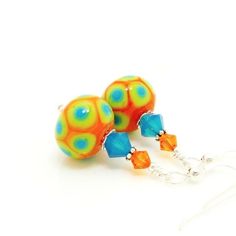 Orange,Southwestern,Earrings,Handmade, Handcrafted, Lampwork, Glass, Earrings, Jewelry, Colorful, Lampwork Earrings, Lampwork Glass Earrings, Handmade Lampwork Jewelry, Beadz and More, Handcrafted Bead Jewelry, Handmade Lampwork Earrings, Glass Beads Earrings