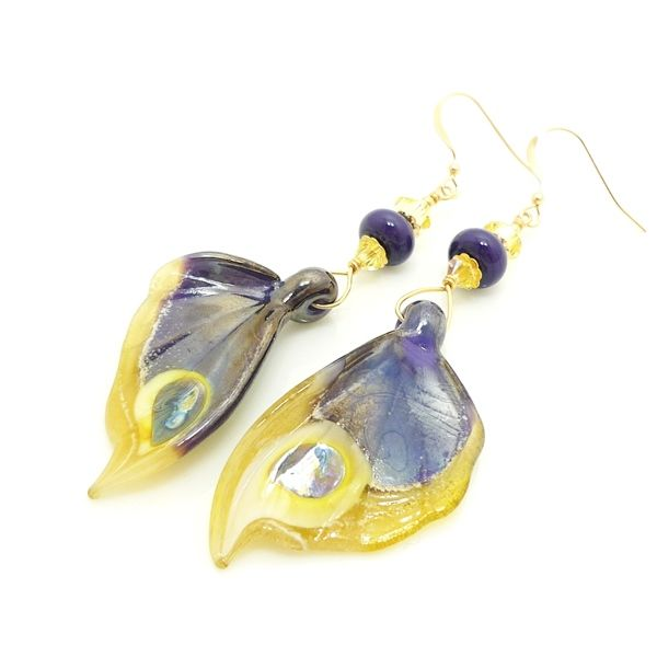 Purple and Yellow Lustre Butterfly Wing Earrings - product images  of