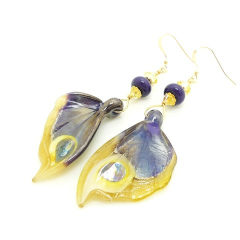 Purple,and,Yellow,Lustre,Butterfly,Wing,Earrings,Handmade, Handcrafted, Lampwork, Glass, Earrings, Jewelry, Butterfly, Butterfly Wings, Lampwork Earrings, Lampwork Glass Earrings, Handmade Lampwork Jewelry, Butterfly Wing Earrings, Butterfly Jewelry, Beadz and More, Animal Earrings