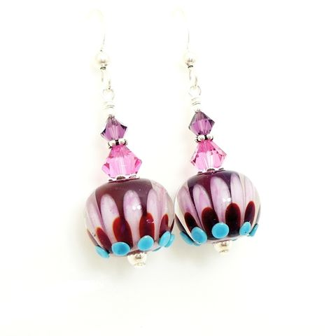 Cranberry,Lotus,Flower,Earrings,Handmade Earrings, Handmade Lampwork Jewelry, Lampwork Earrings, Lampwork Glass Earrings, Glass Beads Jewelry, Lampwork Jewelry, Beadz and More, Silver Earrings, Dangle Earrings, Purple, Blue, Pastel Colors, Jewellery