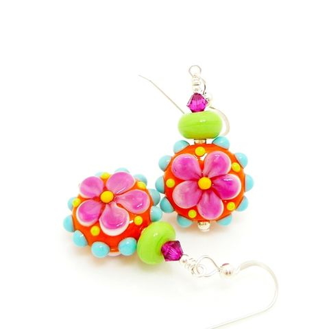 Orange,Pink,Lime,Flower,Earrings,Handmade Earrings, Handmade Jewelry, Lampwork Earrings, Flower Earrings, Sterling Earrings, Silver Earrings, Glass Jewelry, Glass Bead Earrings, Beadz and More, Bead Earrings, Glass Earrings, SRAJD, Yellow Earrings, Colorful Earrings