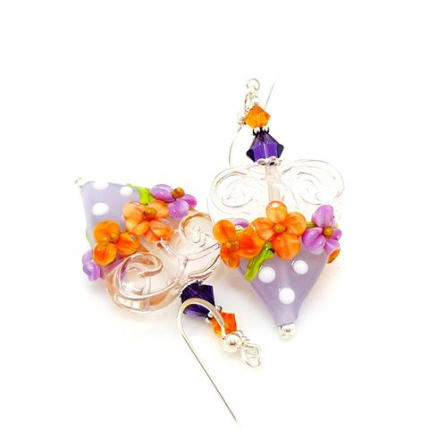 Purple,Heart,Earrings,Handmade, Handcrafted, Lampwork, Glass, Earrings, Jewelry, Chocolate Candy Earrings, Lampwork Earrings, Lampwork Glass Earrings, Handmade Lampwork Jewelry, Beadz and More, Handcrafted Bead Jewelry, Handmade Lampwork Earrings, Glass Beads Earrings, Floral