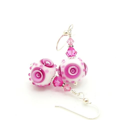Pink,and,White,Abstract,Earrings,Handmade Lampwork Earrings, Lampwork Earrings, Pink Heart Earrings, Heart Earrings, Valentine Earrings, Valentine Jewelry, Lampwork Glass Earrings, Lampwork Glass Bead Earrings