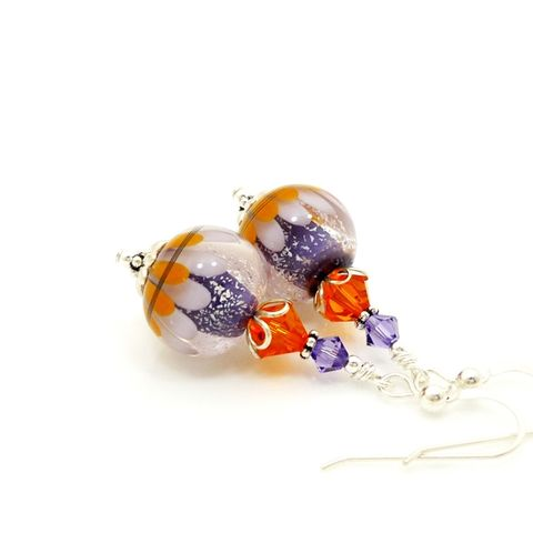 Purple,and,Orange,Sparkle,Lotus,Flower,Earrings,Handmade, Handcrafted, Earrings, Lampwork, Colorful, Sterling Silver, Lampwork Earrings, Beadwork Earrings, Beadz and More, Glass Bead Earrings