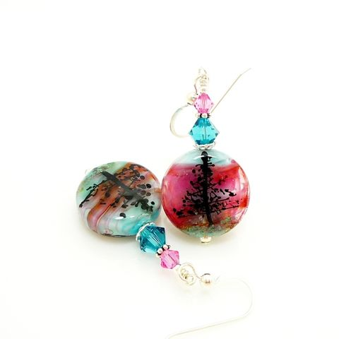 North,Point,Tree,Earrings,Handmade, Handcrafted, Lampwork, Glass, Earrings, Jewelry, Tree, Lampwork Earrings, Lampwork Glass Earrings, Handmade Lampwork Jewelry, Beadz and More, Handcrafted Bead Jewelry, Handmade Lampwork Earrings, Glass Beads Earrings, Tree Earrings