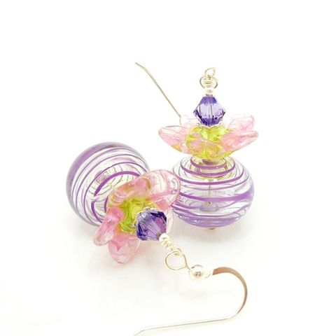 Purple,and,Pink,Flower,Petal,Earrings,Handmade, Handcrafted, Earrings, Lampwork, Colorful, Purple Earrings, Lampwork Earrings, Beadwork Earrings, Beadz and More, Glass Bead Earrings