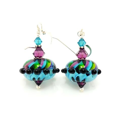 Teal,Purple,Green,Swirl,Bumpy,Bead,Earrings,Handmade, Handcrafted, Lampwork, Glass, Earrings, Jewelry, Polka Dot, Multicolored, Lampwork Earrings, Lampwork Glass Earrings, Handmade Lampwork Jewelry, Beadz and More, Handcrafted Bead Jewelry, Handmade Lampwork Earrings, Glass Beads Earrings, Pink