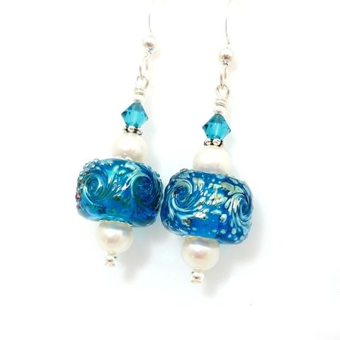 Blue,Iced,Nugget,Sparkle,Earrings,Handmade, Handcrafted, Lampwork, Glass, Earrings, Jewelry, Blue, Lampwork Earrings, Lampwork Glass Earrings, Handmade Lampwork Jewelry, Beadz and More, Handcrafted Bead Jewelry, Handmade Lampwork Earrings, Glass Beads Earrings