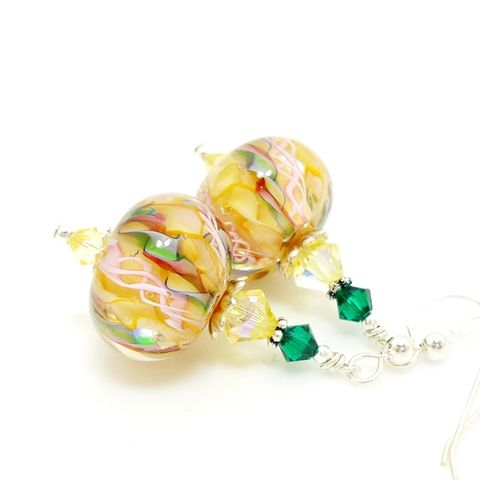 Yellow,Swirl,Ribbon,Earrings,Handmade Earrings, Handmade Jewelry, Lampwork Earrings, Glass Earrings, Glass Beads Jewelry, Lampwork Jewelry, Beadz and More, Silver Earrings, Dangle Earrings, Hot Pink, Orange, Swirl, Jewellery