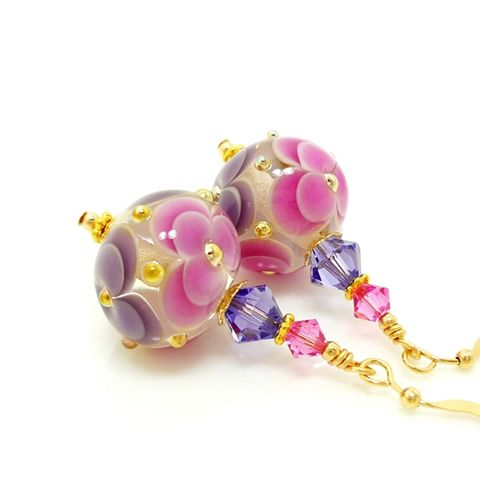Pink,and,Purple,Layered,Flower,Earrings,Handmade, Handcrafted, Lampwork, Glass, Earrings, Jewelry, Heart, Lampwork Earrings, Lampwork Glass Earrings, Handmade Lampwork Jewelry, Beadz and More, Handcrafted Bead Jewelry, Handmade Lampwork Earrings, Glass Beads Earrings, Tree Earrings