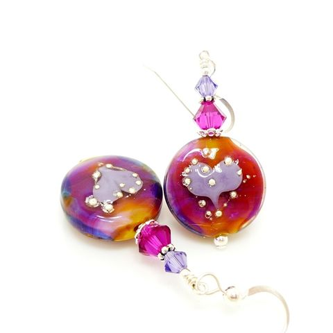 Pink,and,Purple,Spellbound,Silhouette,Heart,Earrings,Handmade, Handcrafted, Lampwork, Glass, Earrings, Jewelry, Heart, Lampwork Earrings, Lampwork Glass Earrings, Handmade Lampwork Jewelry, Beadz and More, Handcrafted Bead Jewelry, Handmade Lampwork Earrings, Glass Beads Earrings, Tree Earrings