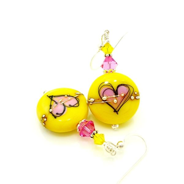 Yellow and Pink Silhouette Heart Earrings - product images  of