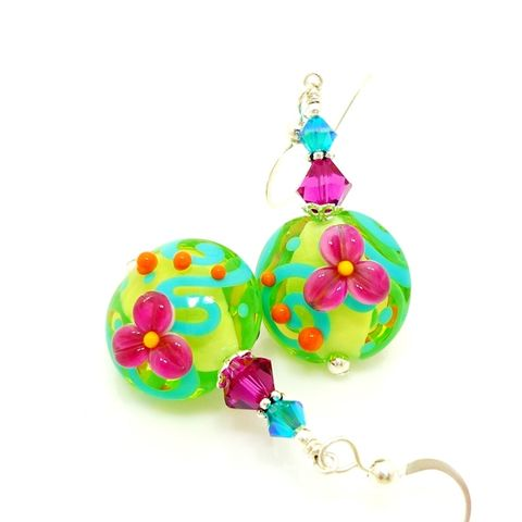 Neon,Floral,Earrings,Handmade, Handcrafted, Lampwork, Glass, Earrings, Jewelry, Lampwork Earrings, Lampwork Glass Earrings, Handmade Lampwork Jewelry, Beadz and More, Handcrafted Bead Jewelry, Handmade Lampwork Earrings, Glass Beads Earrings