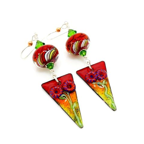 Sunset,Floral,Mixed,Metal,Enameled,Copper,Earrings,Handmade Earrings, Mixed Metal Earrings, Modern Earrings, Contemporary Earrings, Lampwork Earrings, Glass Bead Earrings, Lampwork Jewelry, Silver Earrings, Metalwork Earrings, Beadz and More, Boho Earrings, Copper Earrings, Dangle Earrings